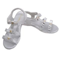 8a5a61155c5 L Amour Little Big Kids Girls Silver Studded Bow Straps Sandals 11-4 Kids