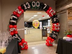 The art of balloons, classic balloon décor, made so much more exciting when using different patterns and different balloons. These are some examples of The Balloon Peoples Balloon Arches and Balloon Columns Casino Themed Centerpieces, Fiesta Decorations, Balloon Decorations, Balloon Backdrop, Balloon Columns, Balloon Garland, Casino Theme Parties, Casino Party, Casino Night