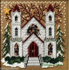 """St Nicholas Cathedral"" - Christmas Village Series by Mill Hill (have/unfinished) Cross Stitch House, Beaded Cross Stitch, Counted Cross Stitch Kits, Modern Cross Stitch, Cross Stitch Embroidery, Cross Stitch Patterns, Cross Stitch Christmas Ornaments, Christmas Embroidery, Xmas Ornaments"