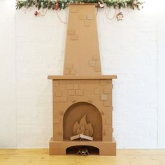 Cardboard Fireplace - the original and sooooo comfortable solution for the Christmas decoration of your home, apartment, office or event Diy Christmas Fireplace, Fake Fireplace, Diy Cardboard Furniture, Cardboard Crafts, Cardboard Playhouse, Plywood Furniture, Playhouse Furniture, Fireplace Furniture, Office Christmas