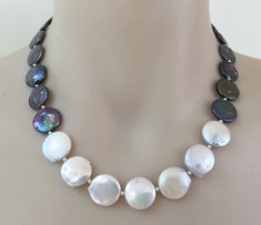 Coin Pearl Necklace #makeforgood - white and peacock blue black freshwater coin pearls, sterling silver toggle clasp - pinned by pin4etsy.com