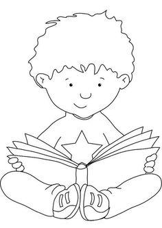 Coloriage lire. Images pour l'écoles et l'éducation. Dessins et photos éducatives. Ressources pédagogiques. Dessin 7308.