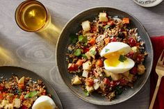 Roasted Fall Vegetable & Farro Salad with Soft-Boiled Eggs. Visit https://www.blueapron.com/ to receive the ingredients.
