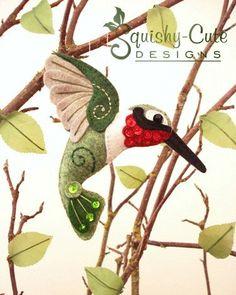 Hummingbird Sewing Pattern PDF - Backyard Bird Stuffed Ornament - Felt Plushie - Harold the Hummingbird.