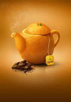 Ad for orange chocolate tea, made from entire orange, chocolate squares. Orange background gives emphasis to the fullness of fruit. String and label are indicators the ad is for tea. Creative Advertising, Ads Creative, Advertising Design, Creative Design, Advertising Campaign, Product Advertising, Food Advertising, Creative Posters, Case Study Design