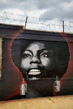 Damien Mitchell /// Hommage à Nina Simone, Brooklyn - New York 3d Street Art, Street Art News, Street Mural, Urban Street Art, Street Art Graffiti, Graffiti Wall Art, Best Graffiti, Art Mural, Murals