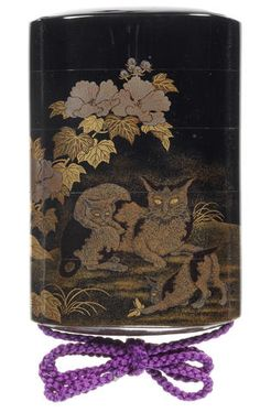 A black lacquer four-case inro By Kajikawa Bunryusai, 19th century