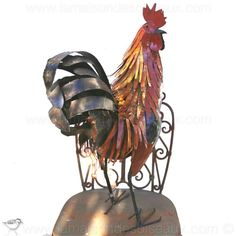 Grand coq sculpture en fer peint