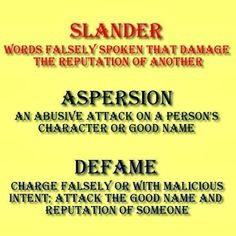 Defamation of Character   Susan Arendsee and Ronald Cornett: Defamation of Character