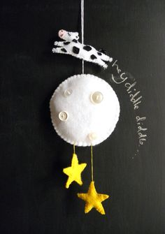 Cow and Moon Baby Mobile by theladybirdtree on Etsy, £10.70