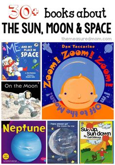 A big list of books about space for a space theme in preschool or kindergarten