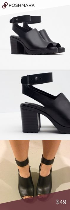 Zara Black Heels Black booties with a peep toe and track sole, they have been worn only a few times! A little wear on the back strap shown in the 4th pic. Zara Shoes
