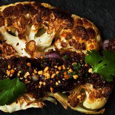 Cauliflower With Quinoa, Prunes and Peanuts