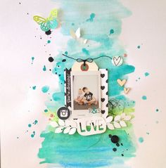 Watercolor Techniques | Scrapbook layouts | 12X12 Page| Creative Scrapbooker Magazine  #watercolor  #scrapbooking