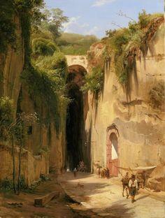 The Grotto of Posillipo at Naples, Antonie Sminck Pitloo, 1826 - Rijksmuseum Fantasy Art Landscapes, Fantasy Landscape, Fantasy Artwork, Landscape Paintings, Environment Concept, Classical Art, Ancient Architecture, Renaissance Art, Fantasy World