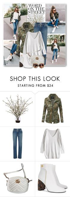 """""""Tortoise Shell & Camo"""" by brendariley-1 ❤ liked on Polyvore featuring Kershaw, Lux-Art Silks, LE3NO, Opening Ceremony, Gucci, STELLA McCARTNEY, hellofashionblog and christineandrews"""