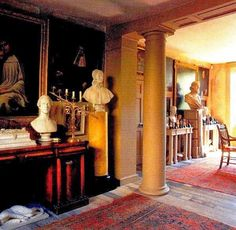 Main Room, Malplaquet House.  Love the yellow and black half column