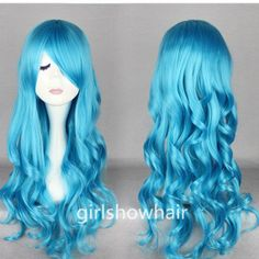Long Blue Wig Curly Wig Cosplay Wig Lolita Wig by girlshowhair, $16.99