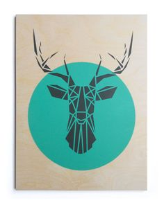 ********** Original Artwork ***********    Large Deer Head on Aqua Circle, Dark Grey Deer, Original Stencil Art on an Plywood Block. Made by hand.
