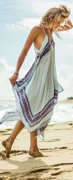 Summer Time 2015 Maxi Beach Dress. Handkerchief hemline that is easy to wear and flatters many shapes.