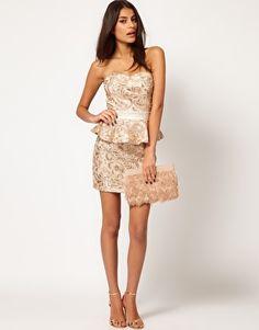 H-line/bandage mini skirt + peplum bustier top = dress