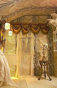 love the swags with fringe...love the lace....love the ceiling....