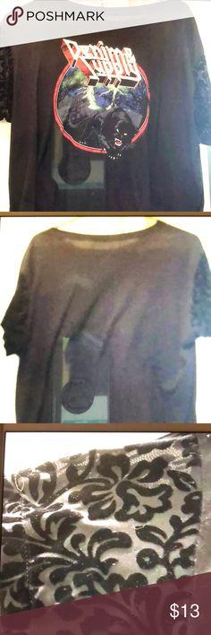 Denim & Supply SS tee Very cute tee with really cute velvet/sheer sleeves Denim & Supply Ralph Lauren Tops Tees - Short Sleeve