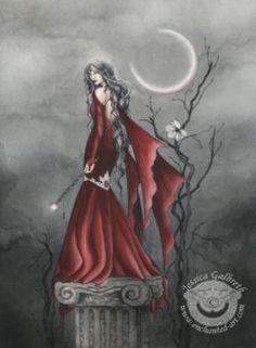 Crimson Moon by Jessica Galbreth Beautiful Dark Art, Beautiful Fairies, Fantasy World, Fantasy Art, Dark Fantasy, Vampires, Dragons, Gothic Fairy, Mystique