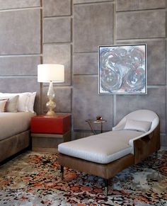 Cosmopolitan of Las Vegas - bedroom with leather walls, pony hair