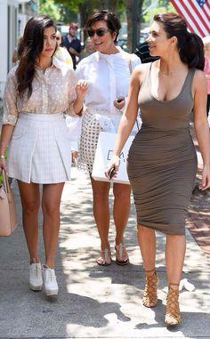 Kourtney Kardashian, Kris Jenner and Kim kardashian West in South Hampton NYC