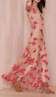 Sheer Appearance Maxi With Red Flowers