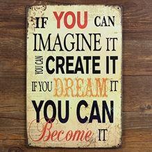 Emaljeskilt Imagine Create Become - NiceWall.dk