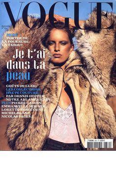 Cover with Karolina Kurkova September 2002 of FR based magazine Vogue Paris from Condé Nast Publications including details. Vogue Magazine Covers, Vogue Covers, Vogue Us, Vogue Korea, Emmanuel Seigner, Vogue Paris, Dior, Ethno Style, Carine Roitfeld