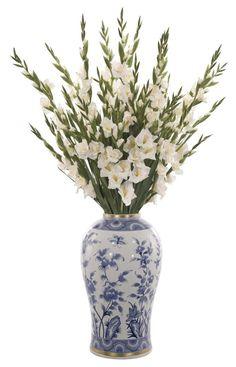 Natural+Decorations,+Inc.+-+Gladiola+|+Cream+White+|+Ceramic+Vase+Blue+&+White