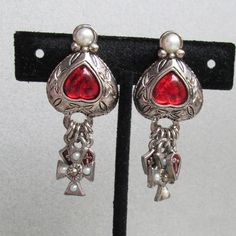 FUNKY 1980's Vintage BIG Medieval Dangle Red Glass Cabochon Inverted Heart Clip Faux Pearl Pewter Earrings