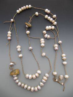 Fresh water pearls, antique French brass seed beads LuciaAntonelli.com