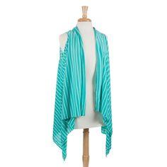 Wholesale mint white stripes lightweight jersey vest long sides Polyester One fi