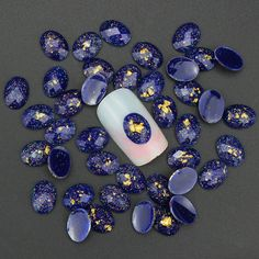 Blueness 10pcs/lot 3D nails art decorations gel Turquoise studs resin drill DIY Sapphire accessories for nails Design PJ187