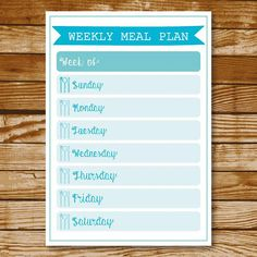 Turquoise Weekly Meal Plan Printable Instant Download Meal