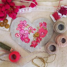 Have spent a happy couple of hours embroidering this little sample heart.  It's going to be gorgeous filled with organic lavender!  - Thanks to madebycharlied via instagram Modern Crafts, Heart Pictures, Embroidery Art, Liberty, Lavender, Textiles, Crafty, Knitting, Sewing