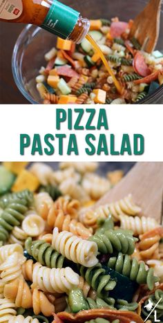 This simple, yet tasty pizza pasta salad recipe is the perfect side dish to go with any pizza! Serve with a fresh baked bread and you have a complete meal. Pasta Salad Ingredients, Easy Pasta Salad Recipe, Pasta Recipes, Pizza Pasta Salads, Pasta Dishes, Side Dish Recipes, Easy Dinner Recipes, Side Dishes, Holiday Recipes