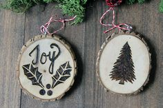 Ornaments that will bring you cheer this holiday! There is nothing like a Haute Holiday with wood burned ornaments. Choose from different holiday stencils or even free hand the name of every family member. Check out more ideas here for your holiday ornaments
