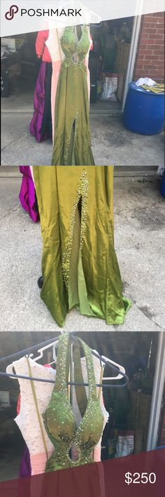 Prom dress beautiful olive green prom dress. only worn one time. it has been altered, so i would say it's about a size 1 now. goes down to feet & has a slit on the side Dresses Prom