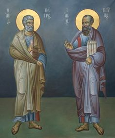 Saints Peter and Paul John Chrysostom, St Peter And Paul, Church Icon, Raise The Dead, Religious Paintings, Byzantine Icons, Religious Icons, Orthodox Icons, Christianity