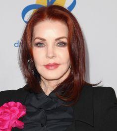 Priscilla Presleys radiant red hair