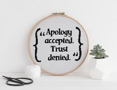 Apology accepted. Trust denied funny cross stitch xstitch pattern