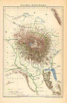 Mt. Kilimanjaro >>> Old map from a time when Tanganyika (where the mountain is located -now Tanzania) was German, no doubt.