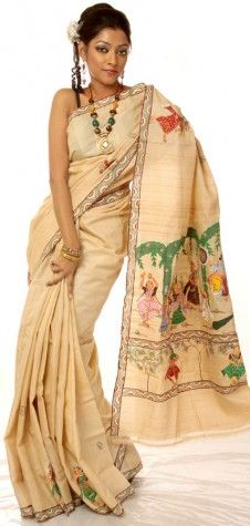 Beige Hand-Painted Pata Chitra Sari from Orissa with Lord Krishna on a Swing