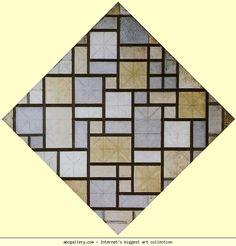 Piet Mondrian. Composition: Light Color Planes with Grey Lines. Olga's Gallery.