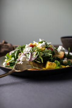Sweet Corn, Peach, and Cherry Salad with Creamy Goat Cheese and a Lime Dressing